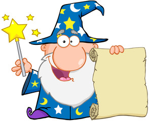 Funny Wizard Waving With Magic Wand And Holding Up A Scroll