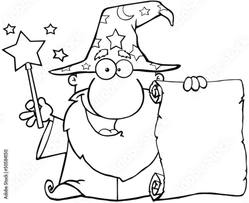 Outlined Wizard Waving With Magic Wand And Holding Up A Scroll