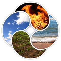 Vier Elemente - Feuer, Wasser, Erde, Luft - als YinYang-Symbole