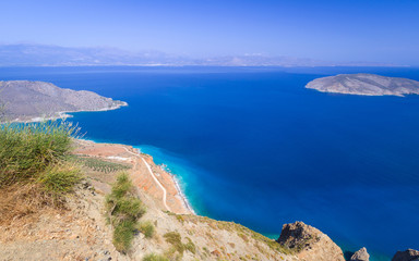 Bay view with blue lagoon on Crete, Greece