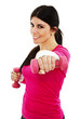 Portrait of happy fitness woman working out with free weights
