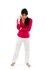 Young beautiful woman with white boxing bandage on hands
