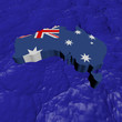 Australia map flag in abstract ocean illustration