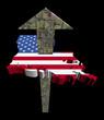 American dollars arrow and Louisiana map flag illustration