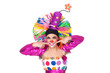 Funny girl clown with a beautiful smile