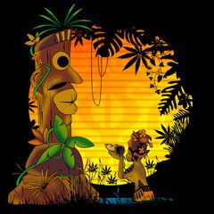 paradis, totem, tropical, prière, dieu, personnage, lac