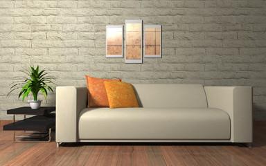 Wohndesign - Sofa beige vor naturstein Mauer