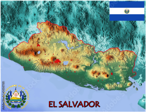 El Salvador Central America  national emblem map symbol motto