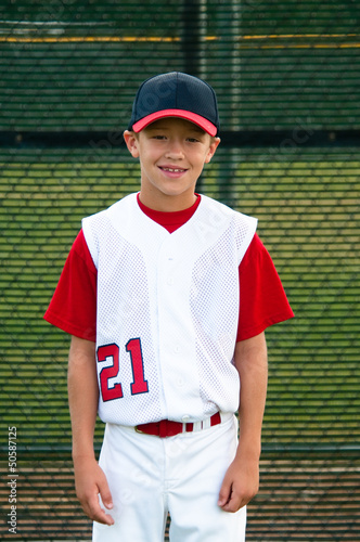 Youth baseball player portrait