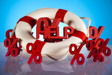 Life buoy with percent, Help in finance