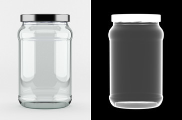 Empty glass jar with alpha mask for perfect isolation