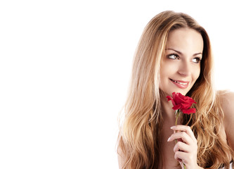 Pretty girl holding a red rose