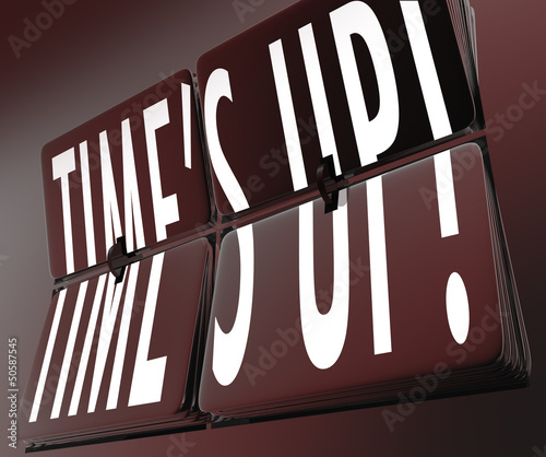 Time's Up Words Retro Clock Flipping Tiles Deadline