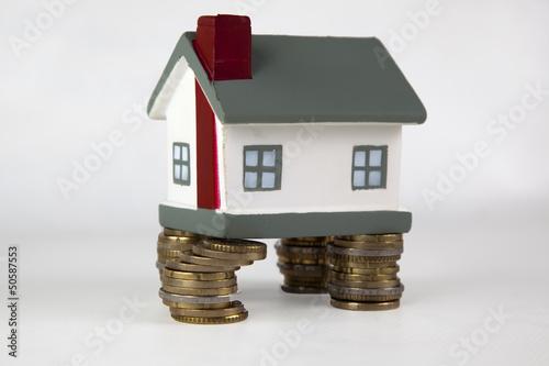 Haus auf Geldsäulen