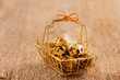 Quail eggs in retro metal basket