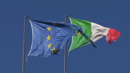 Italy and EU flag