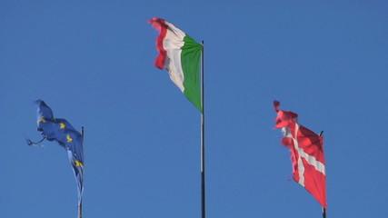 EU Italy and Denmark flag