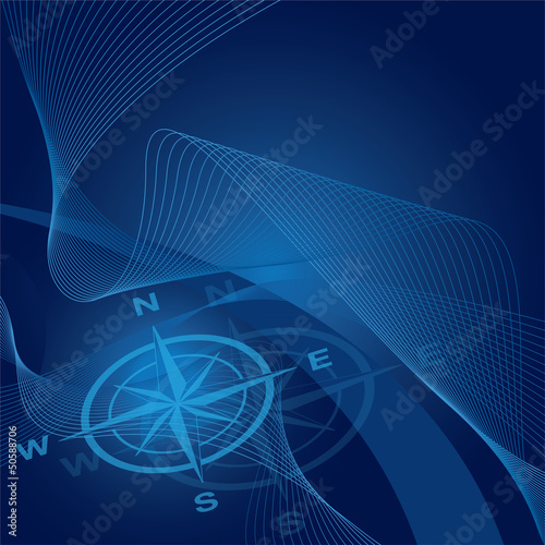 Compass on blue waves and gradient background