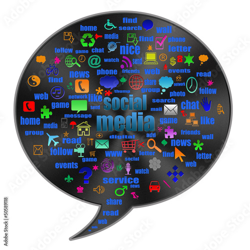 Social media   in  talk bubble shape