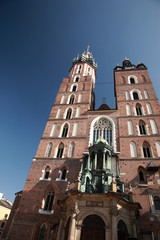 Looking up at Mariacki church, Krakow