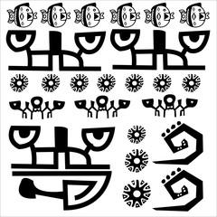 frise, symbole, primitif, tribal, hiéroglyphe, langage