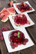 Red Jello on wooden background