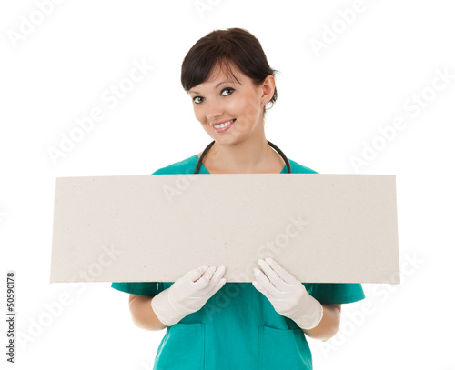 lady doctor keeping empty poster