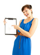 attractive young woman with clipboard