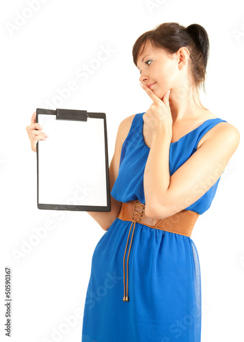 attractive university student girl with clipboard