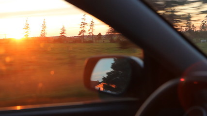 Sunset drive in the country. Prince Edward Island, Canada.