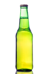 Bottle of beer, on white background, reflection