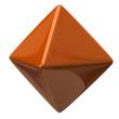 Orange octahedron isolated on white background