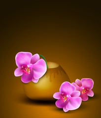 Vector romantic background with vase and orchids