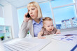 Businesswoman with daughter