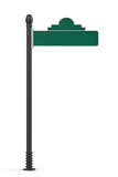 Blank Green Road Sign Isolated on White Background
