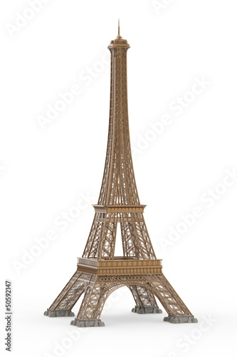 Eiffel Tower Isolated on White Background - 50592147