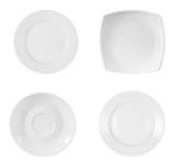 different plates isolated on white background with clipping path