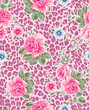 classic roses over seamless animal background