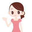 ピンクのワンピースを着た可愛い女性 案内