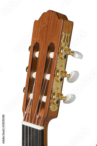 detail of a guitar neck on white background