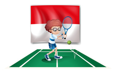 The flag of Indonesia at the back of a tennis player