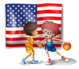 The USA flag and the two basketball players