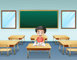 A boy inside a classroom with an empty board at the back