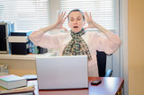 Senior Woman in Office Raging Against the Computer poster