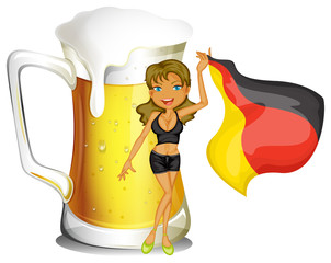 A big mug of beer at the back of a lady holding the flag of Germ