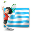A tennis player and the flag of Greece