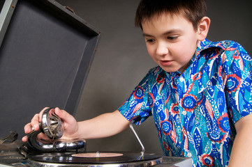 Boy with record player