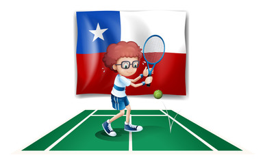 The flag of Chile at the back of a tennis player