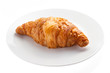 croissant and white dish isolated on white background