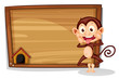 A monkey beside an empty board